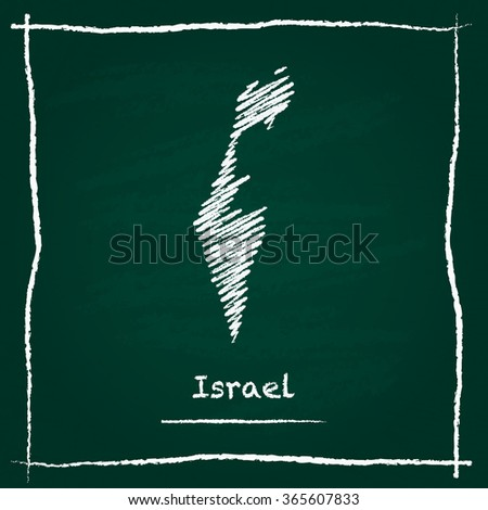 Scribble vector map of Israel hand drawn with chalk on a green blackboard. Chalkboard map drawing in childish style. White chalk texture on green background. - stock vector
