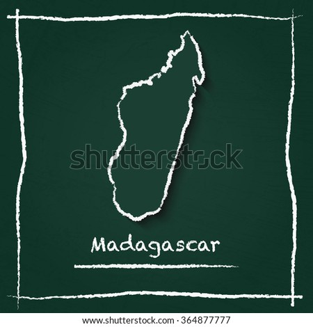 Scribble vector map of Madagascar hand drawn with chalk on a green blackboard. Chalkboard map drawing in childish style. White chalk texture on green background. - stock vector