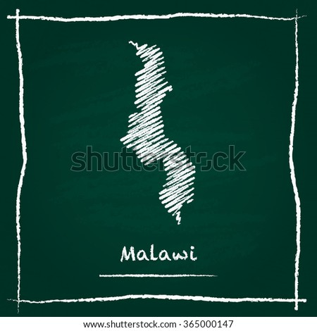 Scribble vector map of Malawi hand drawn with chalk on a green blackboard. Chalkboard map drawing in childish style. White chalk texture on green background. - stock vector