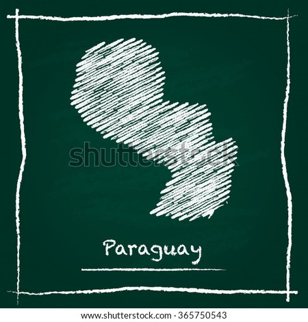 Scribble vector map of Paraguay hand drawn with chalk on a green blackboard. Chalkboard map drawing in childish style. White chalk texture on green background. - stock vector