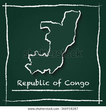 Scribble vector map of Republic of Congo hand drawn with chalk on a green blackboard. Chalkboard map drawing in childish style. White chalk texture on green background. - stock vector