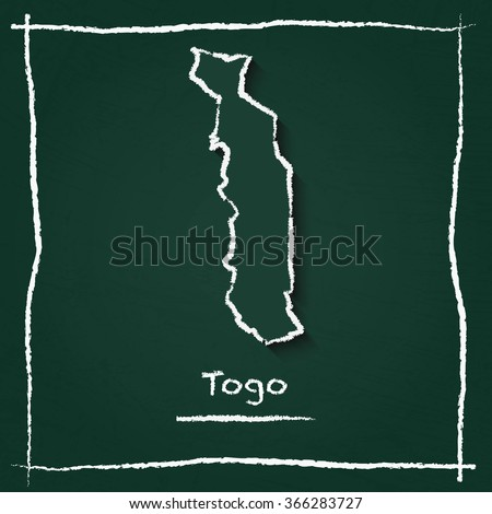 Scribble vector map of Togo hand drawn with chalk on a green blackboard. Chalkboard map drawing in childish style. White chalk texture on green background. - stock vector