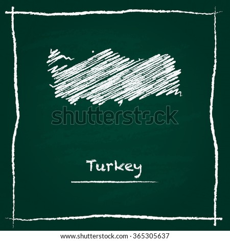 Scribble vector map of Turkey hand drawn with chalk on a green blackboard. Chalkboard map drawing in childish style. White chalk texture on green background. - stock vector