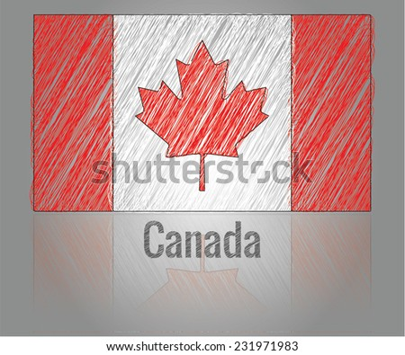 Scribbled Canadian flag, vector art - stock vector