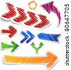 Scribbled collection of arrows stickers. Vector EPS8. - stock vector