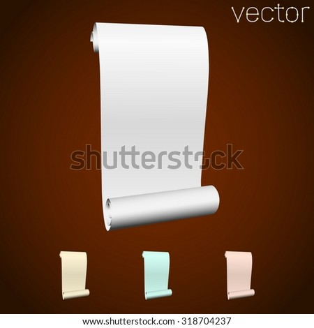 scroll paper set isolated. Vector illustration. - stock vector