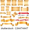 Scrolls and flags vector set - stock vector