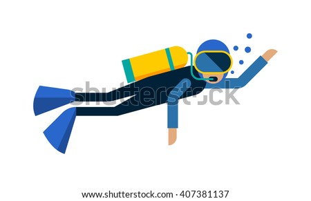 Scuba diver isolated equipment water sport activity vacation leisure vector illustration. Underwater people diver isolated and scuba diver isolated extreme diving sport. Cartoon diver isolated . - stock vector