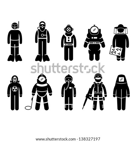 Scuba Diving Dive Deep Sea Spacesuit Biohazard Beekeeper Nuclear Bomb Airforce SWAT Volcano Protective Suit Gear Uniform Wear Stick Figure Pictogram Icon - stock vector
