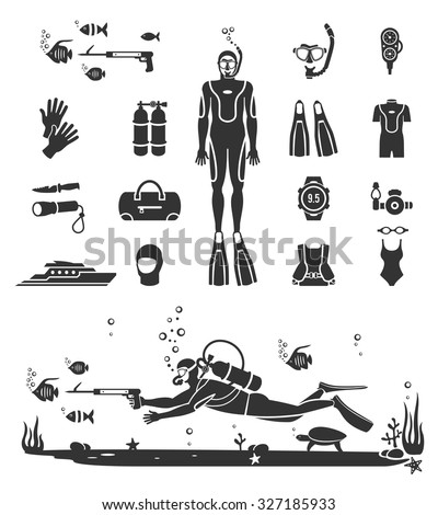Scuba diving equipment. Sport underwater, water sea, glove and flashlight, mask and snorkel, vector illustration - stock vector