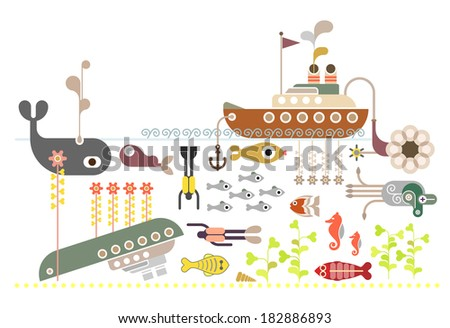 Scuba Diving fun in crystal clear water, kelp forests, and an abundance of sea life. Abstract vector illustration on white background. - stock vector