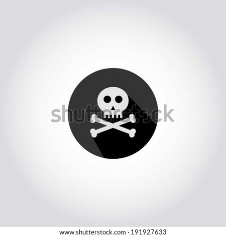 Scull and bones / Jolly Roger - pirate icon, web symbol, app design element, vector illustration - stock vector