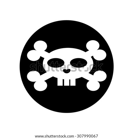 Scull icon on black background, flat - stock vector
