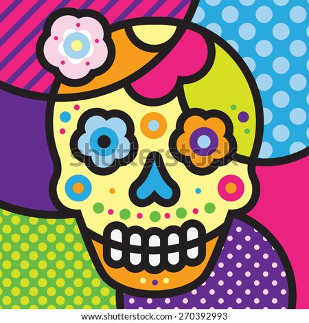 Scull. Mexico.Pop-art modern illustration for your design.  - stock vector