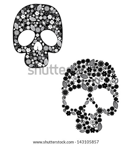 Scull with flower design - stock vector