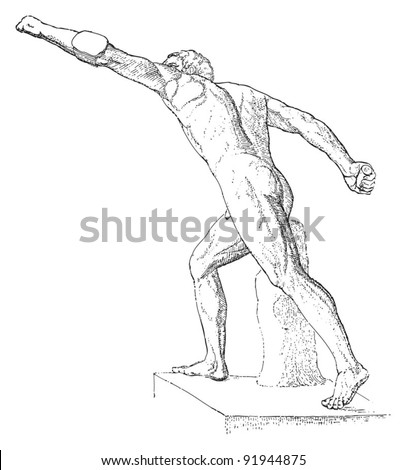 Sculpture of Borghese fighter - greek - roman sculpture / vintage illustration from Meyers Konversations-Lexikon 1897 - stock vector
