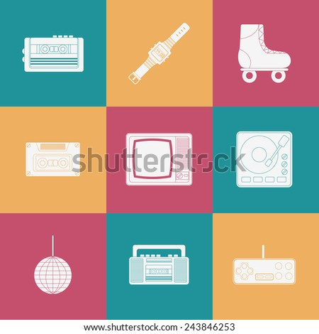 Se of thin icons on 80s theme for your design - stock vector