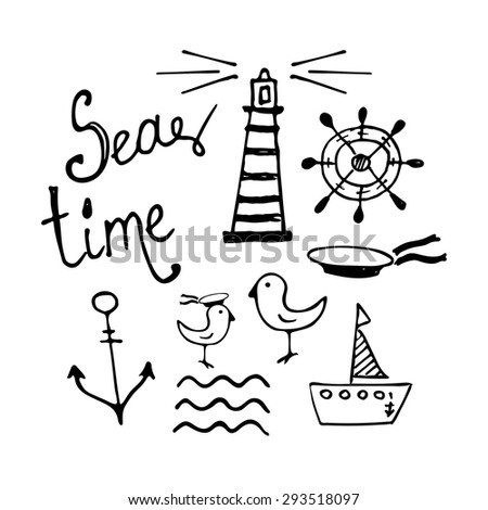 Sea and Boat  Hand-drawn Doodles isolated on white  - stock vector
