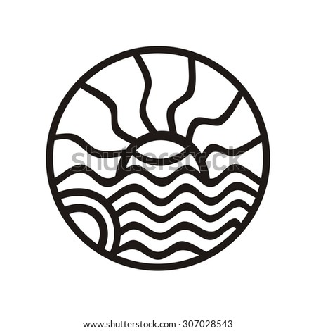 Sea and sun round pattern design element vector illustration - stock vector