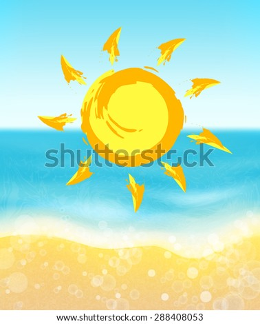 Sea and sun.Summer background. - stock vector