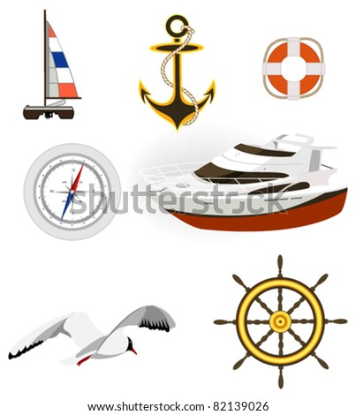 Sea and yachting symbols. Used solid colors. - stock vector