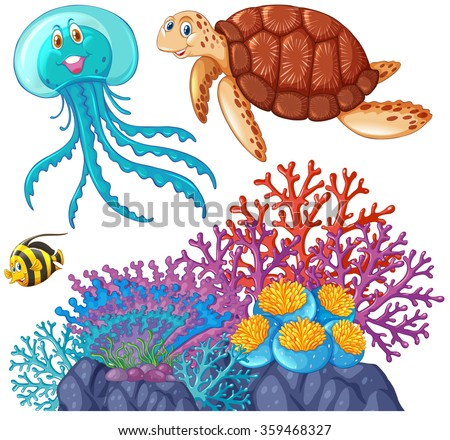 Sea animals and coral reef illustration - stock vector
