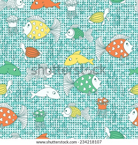 Sea animals Seamless pattern. Fish background. Colorful kids background. - stock vector