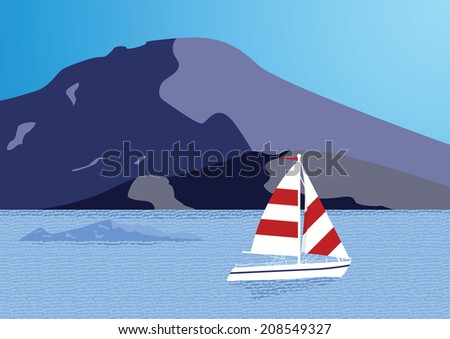 Sea background with yacht. Vector illustration - stock vector