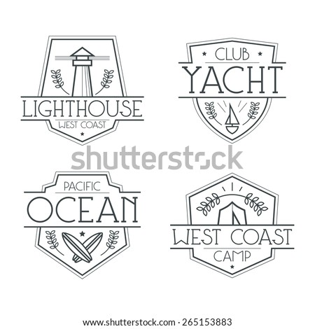Sea badges and icons in thin line style. Graphic design for t-shirt. Black lines on a white background - stock vector