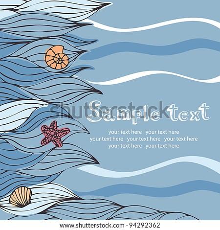 Sea beach card - stock vector