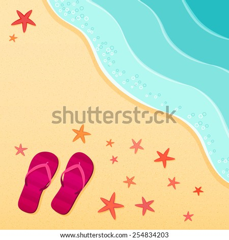 Sea beach. Flip flops and starfish shells on the beach. Vector illustration. Vacation travel concept, copy space. - stock vector