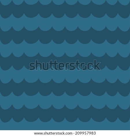 Sea blue wave background, wavy seamless pattern, abstract sea background, vector illustration - stock vector