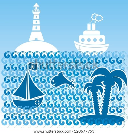 sea composition with palm, boats and whale - stock vector