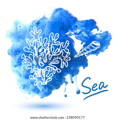 Sea coral on a watercolor background. Original hand drawn illustration - stock vector