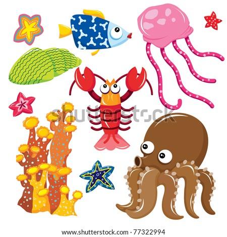 Sea Creatures Cartoon Collection - stock vector
