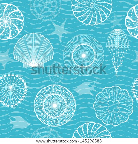 Sea creatures, seamless background - stock vector