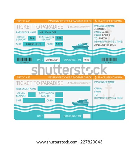 Sea cruise ship boarding pass or ticket template - stock vector
