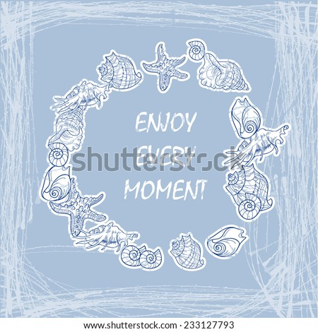 Sea Elements Composition - stock vector