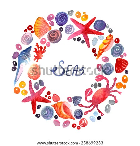 Sea Elements Composition. Border frame with space for text. Group of sea shells. Background with seashells. Watercolor composition. Illustration. Hand-drawing decoration. - stock vector