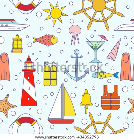 Sea elements seamless pattern. Marine theme background in flat line trendy style with objects and symbols about travel: yacht, boat, anchor, helm, compass, starfish. Design for web, textile, print.  - stock vector