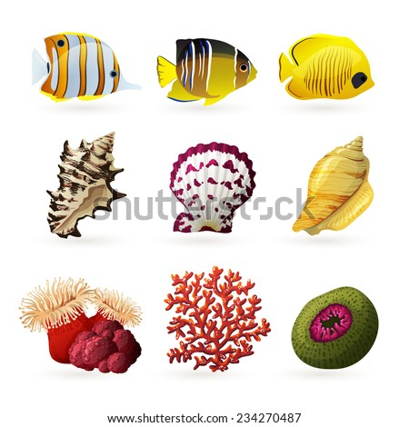 Sea fauna decorative colored icons set with fishes shells and corals isolated  vector illustration - stock vector