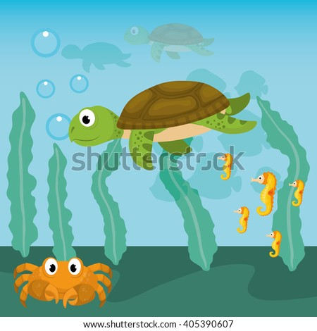 Sea Fauna graphic design, vector illustration - stock vector