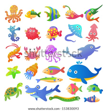 Sea fishes and animals collection.EPS10 File  simple Gradients - stock vector