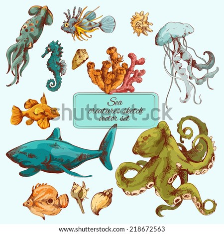 Sea fishes and ocean creatures sketch colored decorative icons set isolated vector illustration - stock vector