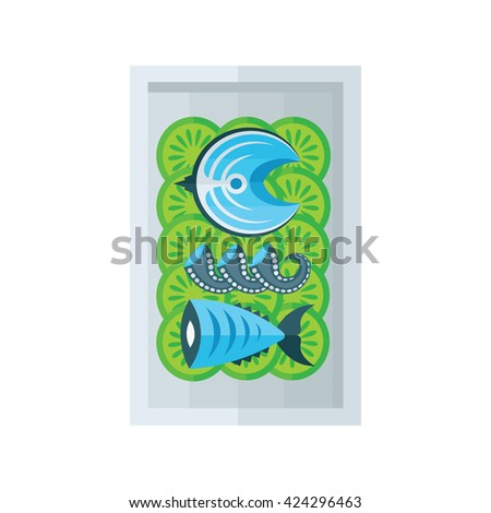 sea food and salad blue color - stock vector