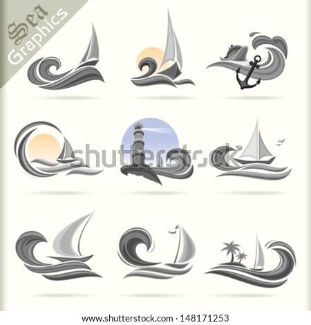 Sea Graphics Series - Premium Sea Travel Icons - stock vector