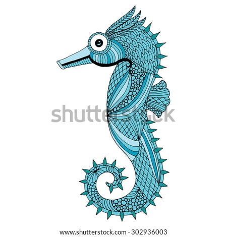 Sea horse illustration - Isolated Sea horse on simple white background - stock vector