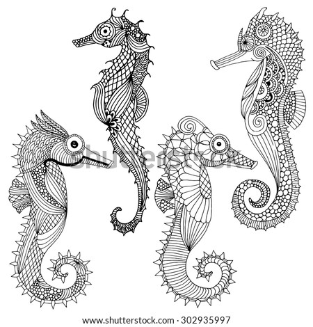 Sea horse variations - various Sea horse illustration collection - stock vector