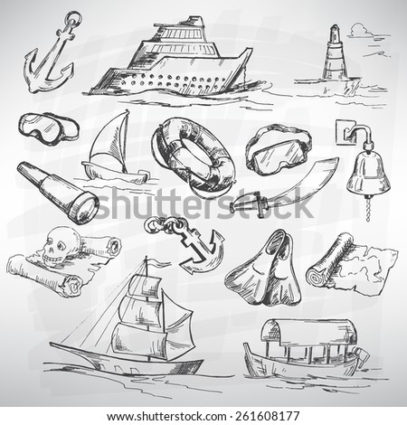 Sea icon set. Sketch converted to vectors. - stock vector