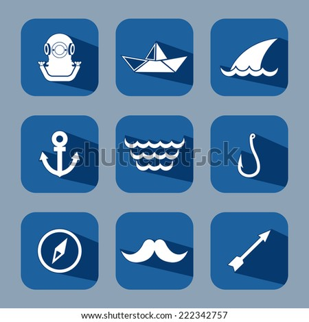 Sea journey flat icon set with long shadows - stock vector